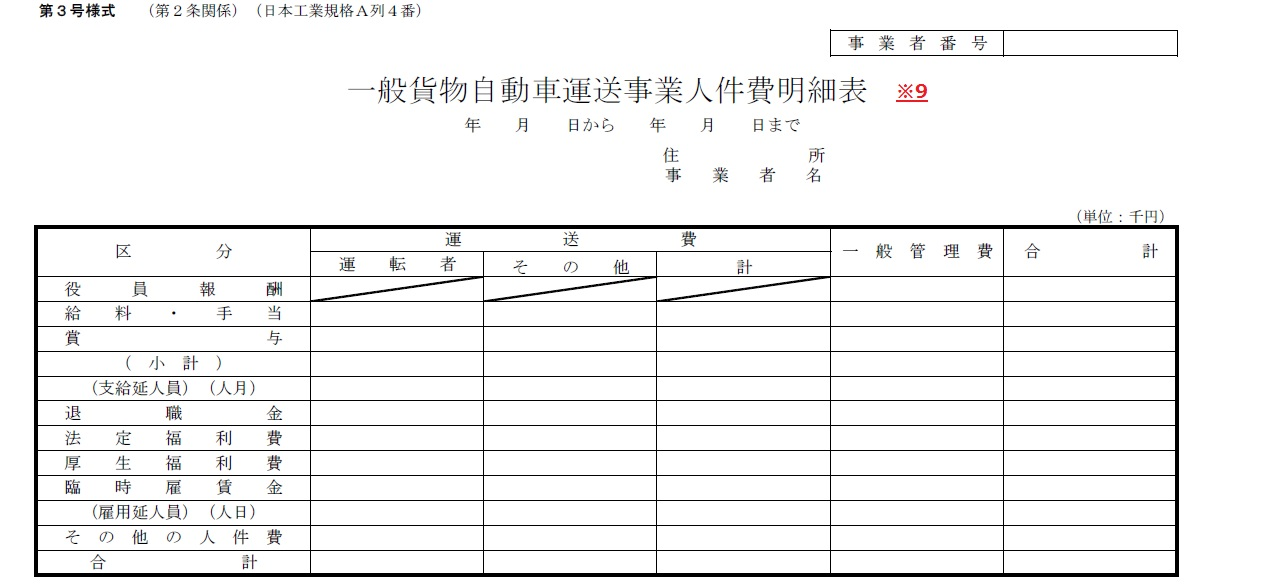 事業概況報告書の作成(書き方)/一般貨物自動車運送事業