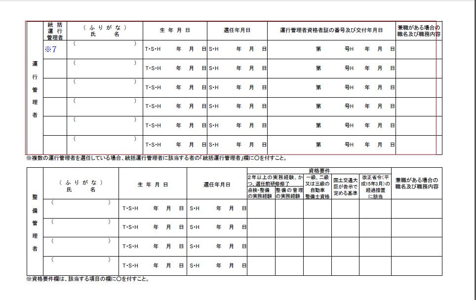 運行管理者選任等届出書(記入例2)