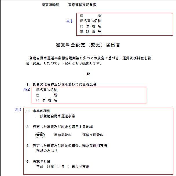 運賃料金設定届出書(記入例1)