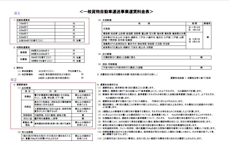 運賃料金表(記載例)